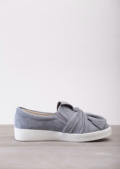 Twist Front Slip On Pumps Sneaker Suede Grey