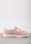 Twist Front Slip On Pumps Sneaker Suede Blush Pink