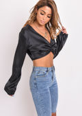 Twist Knot Satin Cropped Top Black