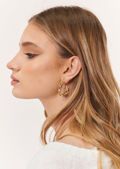 Statement Chain Link Up Hoop Earrings Gold