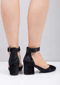 Crush Velvet Block Heel Ankle Strap Court Heels Black