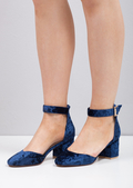 Crush Velvet Block Heel Ankle Strap Court Heels Blue