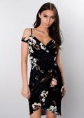 Velvet Cold Shoulder Wrap Dress Floral Navy Blue