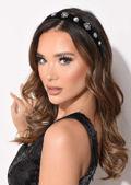 Velvet Diamante Detail Studded Headband Black