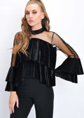 Velvet Frill High Neck Blouse Black