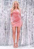 Velvet Pleated Wrap Front Mini Dress Blush Pink
