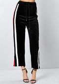 Velvet Stripe Culotte Trousers Black