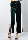 Velvet Stripe Culotte Trousers Green