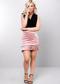 Velvet Tiered Frill Mini Skirt Pink