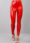 Vinyl High Waist Leggings Red