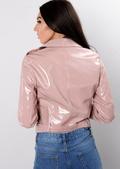 Vinyl Patent Crop Biker Jacket Pink