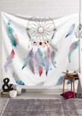 Watercolour Dreamcatcher Print Wall Hanging White