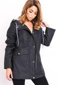 Waterproof Hooded Festival Rain Mac Coat Black