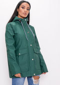 Waterproof Hooded Festival Rain Mac Coat Khaki Green