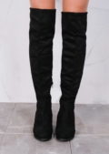 Wedge Knee High Flat Long Boots Suede Black