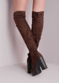 Over The Knee Cleated Sole Faux Suede Platform Boots Brown