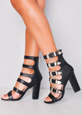 Multi Western Buckle Detail Strappy High Heeled Sandals Black