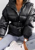 Oversized Wet Look Belted Hooded Puffer Coat Black