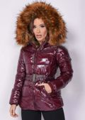 Wetlook Shinny Faux Fur Hooded Puffer Belted Coat Burgundy Red