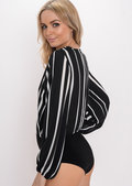 Wrap Front Stripe Bodysuit Black