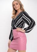 WrapFront Stripe Bodysuit Black