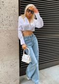 Tie Waist Wrap Over Collared Long Sleeve Shirt Crop Top White