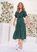 Wrap Over Frill Tiered Waist Tie Midi Dress Green