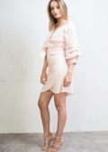 Wrap Over Puff Sleeve Bow Tie Shirt Dress Pink
