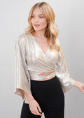 Wrap Over Wide Sleeved Metallic Crop Top Silver