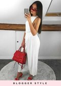 Pleated Wide Leg Culotte Trousers White