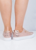 Zip Detail Slip On Pumps Sneakers Rose Gold