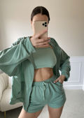Zip Front Hooded Sweater Loungewear 3 Pieces Set Green