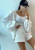 Zip Front Hooded Sweater Loungewear 3 Pieces Set White