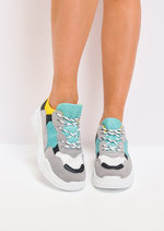 Multi Colour Lace Up Chunky Trainers Yellow