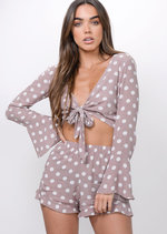 Polka Dot Tie Front Crop Top Shorts Co Ord Beige
