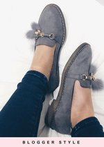 Faux Suede Pom Pom Flat Loafer Shoes Grey