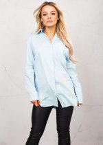 3/4 Adjustable Sleeve Oversized Shirt Dress Light Blue