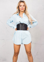 3/4 Adjustable Sleeve Oversized Shirt Dress Light Blue