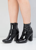 60s Style Patent Ankle Sock Block Heel Boots Black