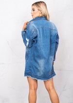 90s Oversized Longline Ripped Detail Boyfriend Denim Jacket Vintage Blue