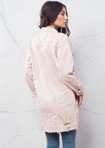 90s Oversized Longline Ripped Detail Boyfriend Denim Jacket Pink