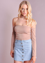 90s Cold Shoulder Choker Top Beige