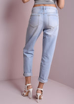 Angelica High Waisted Ripped Mom Denim Jeans