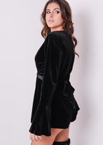 Bell Sleeve Deep V Wrap Velvet Playsuit Black