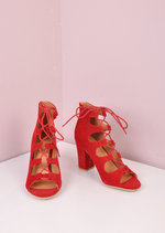Block Heel Lace Up Sudede Sandals Red