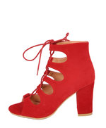 Block Heel Lace Up Suede Sandals Red