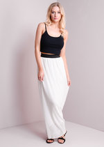 Boho Contrast High Waisted Pleated Maxi Skirt White