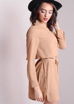 Button Up Chiffon Layered Shirt Dress Camel