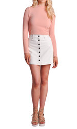 Button Up Mini Leather Skirt White