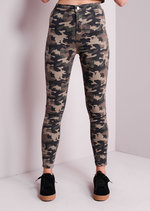 Camouflage Print High Waisted Skinny Jeans